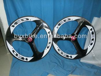 wholesale- HED.3 tri spokes wheelset &carbon wheelset clincher/ tubular &700C 70mm 3k/ud/12k glossy/matte finishing