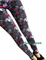 Lovely Women Skeleton SKULL head Punk Elastic  Pants Leggings Trousers C4