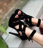 free shipping 2013 NEW high heel sandals thin flock dress shoes heels fashion women sexy H936 Hot sell  size 35-39