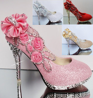 Crystal high-heeled shoes ! rhinestone women's pumps single shoes bridal wedding shoes gold silver bridesmaid  free shipping