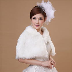 Stella free shipping The bride wedding dress formal dress fur shawl white winter thermal fur shawl cloak vest mpj-715(China (Mainland))