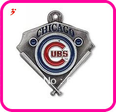 wholesale 100pcs a lot enamel sport antique silver single-sided Chicago Cubs Charms(China (Mainland))