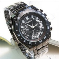 Wholesale New 2013 Men/Women  Fashion Full Steel Strap Quartz Dress Watch With Black Dial Sports Watches