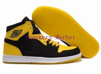 Free Shipping Wholesale Famous Trainers Retro 1 Men's Sports Basketball Shoes ( black / white / varsity maize )