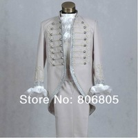 Free shipping Men`s Slim stage wedding suits  Palace prince tuxedo  gray color  ( jacket + pant  ) size: S M L XL
