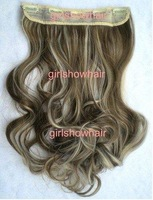 Free shipping 5 clips hair extension, hairpiece long wavy wig, Color 8/613#,130g,55cm to 60cm,1 pcs,
