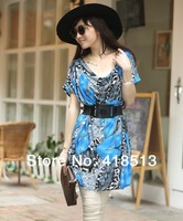 Free Shipping 2013 Summer plus size  one-piece Print Leaf dress V-neck slim skirt kr04