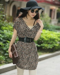 Free Shipping 2013 Summer plus size viscose Leopard one-piece dress V-neck slim skirt kr10 In Stock(China (Mainland))
