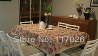 Free shipping romantic rose table cloth cotton linen table cloth pure design 140X220cm LS-020