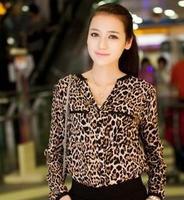 New 2014 Women Chiffon Sexy Leopard Print Summer long sleeve Shirt Top Button Down Blouse  v-neck S/M/L plus size