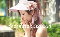 1pcs,2013 can be fold  canvas summer sun hat, women big flower hat, two kinds of use caps, multicolor, free shipping