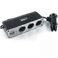 Free shipping/3-Way Car Cigarette Lighter three Socket Splitter DC 12V +USB charger supply and Triple socket