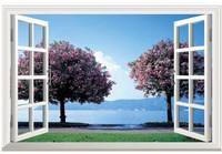 HD Tree Pattern Simulation fake window sticker 70*46cm sofa background bedroom  art mural home decor wall sticker  SH1