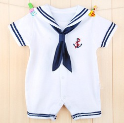 free shipping I am small seaman Navy out some baby clothes and baby romper climbing clothes with short sleeves(China (Mainland))