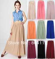 Free Shipping High Waist Double Layer Chiffon Maxi Long Skirt