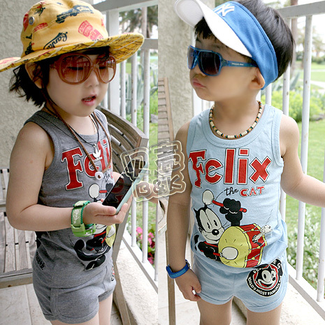 2013 summer lucky cat boys clothing girls clothing vest shorts set(China (Mainland))