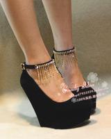 2013 new arrival rhinestone curtain 14 super-elevation wedges platform high-heeled shoes ol open toe single shoes