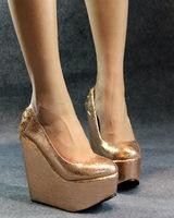 2012 autumn women's shoes fashion open toe fashion high-heeled shoes platform ultra high heels wedges single shoes