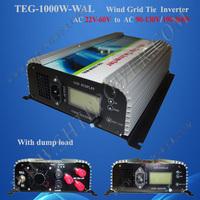 1000W on Grid Tie Wind Power Inverter AC/DC 22V~60V to AC 90V~130V,Dump Load Controller,for 3 Phase Wind turbine