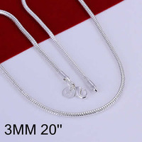 Hot! free shipping wholesale 925 silver necklace, 925 silver fashion jewelry 3mm Snake Bone Necklace-20 N192-20