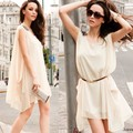 Free Shipping New Fashion 2013 Spring And Summer Women Chiffon Sleeveless Mini Dress Tunic Sundress Street Style Wholesale