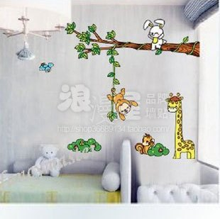 The romantic second generation of wall stickers  children room 2001 of the animals a good partner background Korean kindergarten