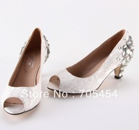 BS422 free shipping open toe lace low heel wedding shoes bridal shoes evening shoes with big crystals at back