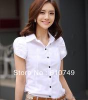 Free shipping OL commuter white shirt Temperament Slim lapel OL short-sleeved shirt