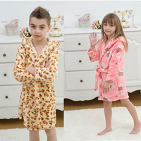 Free Shipping High quality kids girls boys flannel Pajama Tops Robes towel bathrobes sleepwear robe children clothes