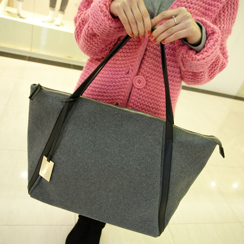 Mikko2013 woolen big bags vintage bag brief one shoulder bag winter fashion women's handbag ad1587 best selling hit hot product(China (Mainland))