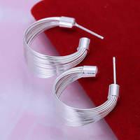Lose money Promotion! Wholesale 925 silver earrings, 925 silver fashion jewelry, Multi Stripe Earrings E005