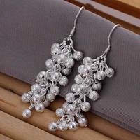 Lose money Promotion! Wholesale 925 silver earrings, 925 silver fashion jewelry, Polished Purple Bean Earrings E007