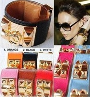 Fashion Jewelry cool spike brand Punk Studs Pyramid Faux Leather Wristband Charm Bangles Bracelet 4 sizes