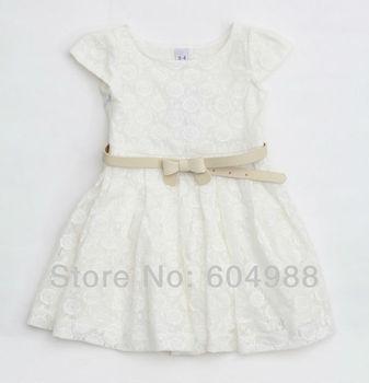 Free Shipping Cute Girls dresses girl Hook flower dress belt dress girls clothes kid wear