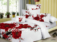 Cotto 100% free delivery reactive dyeing red plum flower pattern on a white background model cotton bedding set double 4 PCS