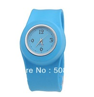 Free shipping 30 pcs/Lot colorful silicone kids slap watch,slap band watch,slap on silicone rubber watch