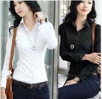 2013New Fashion Women's Long Sleeve Cotton Blouse Ladies' Shirt,Black/White/Free Shipping,