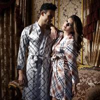 Free Shipping 2013  Spring Summer Pajamas Set Women Men plaid sexy cute couple striped sleepwear pajama robe bathrobe dress