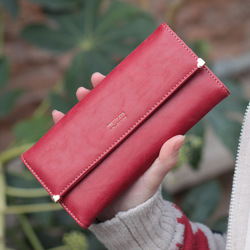 Women's long design wallet women's wallet PU vintage scrub rivet new year gift new arrival fashion designer item free shipping(China (Mainland))