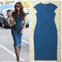 Free Shipping European and American Star Beckhams Victoria  Slim Short-Sleeved Knitting Blue Short-Sleeve Dress