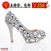 Diamond crystal shoes rhinestone shoes high heel platform bridal shoes