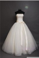 vestido de noiva 2014 159      fashionable sexy big bow lace up   wedding dress bride bridal gown dresses