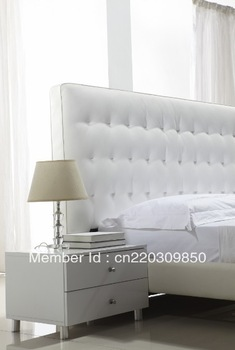 Modern genuine leather bed B507#