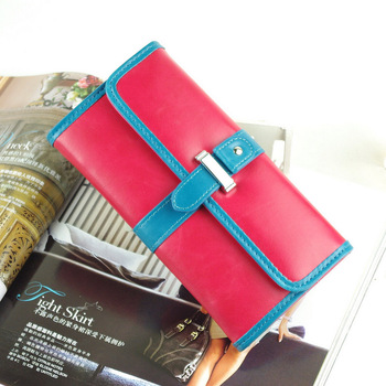 2012 wallet color block long design wallet women's vintage gentlewomen three fold wallet new arrival fashion designer item