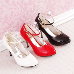 2013 women's shoes platform suspenders peach heart brief wedding shoes wedding shoes am single shoes black white red(China (Mainland))