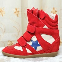 Isabel Marant Bekket High-top,Original Red-blue pentagram Suede Leather,EU35~41,Height Increasing7cm,Drop Shipping/Free Shipping