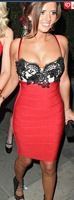 With Beads now! Free  Shipping 2013 High Standard Elastic Knitted Bandage Dress J133 Red With Black Lace Evening Dress