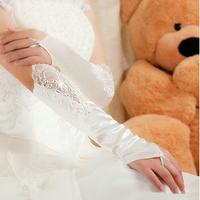 Stella free shipping Gown Fashion Wedding Satin Lace Beads Fingerless Bridal Gloves White