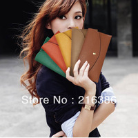 Hotsale 2013 Fashion Long Solid Candy Color Women' Wallet Good Quality Evening Female Purse Freeshipping