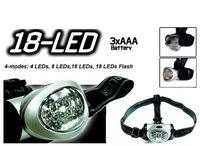1PC MX-18 LED Headlight 18 x 5mm White LEDs 3 *AAA Silvery Waterproof 4 MODE Adjustabe Outdoor Hiking HeadLamp
